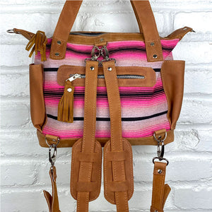 back of pink serape backpack - The Fox and the Mermaid