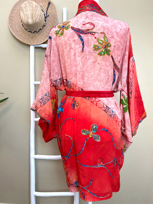 back of red embroidered kimono - The Fox and the Mermaid