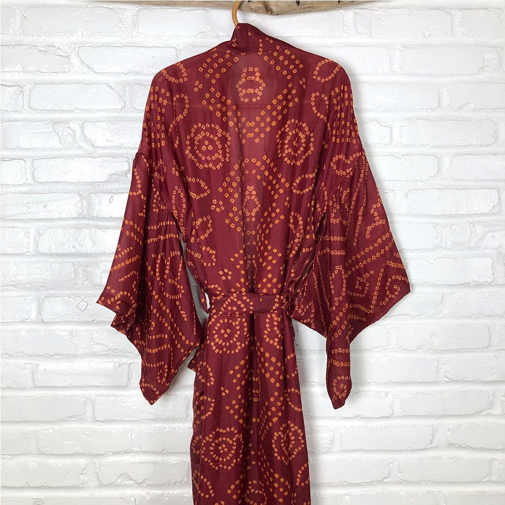 Red Vintage Silk Kimono The Fox and the Mermaid