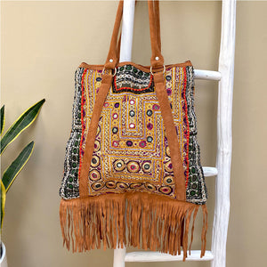 back of suded fringe gypsy  bag - The Fox and the Mermaid