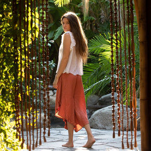 Orange flowy indian pants pants - The Fox and the Mermaid