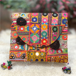 Orange red and green banjara vintage bag - The Fox and the Mermaid