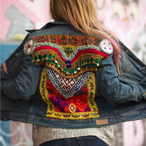 Embellished Denim Banjara Jacket (S)
