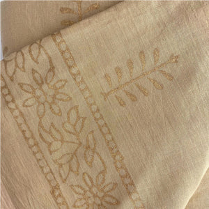 beige sarong with gold tree design  - The Fox and the Mermaid