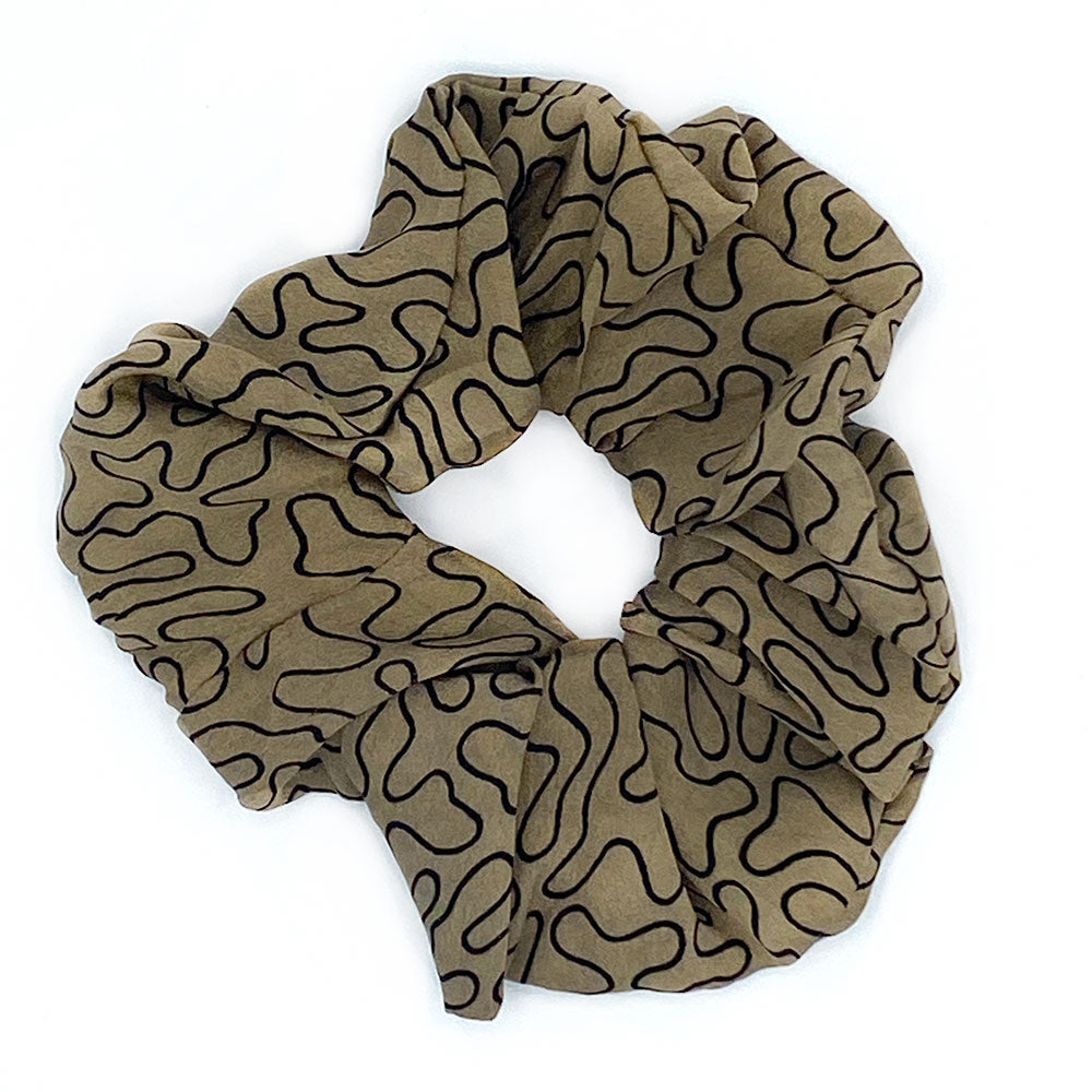 beige and black silk scrunchie - The Fox and the Mermaid