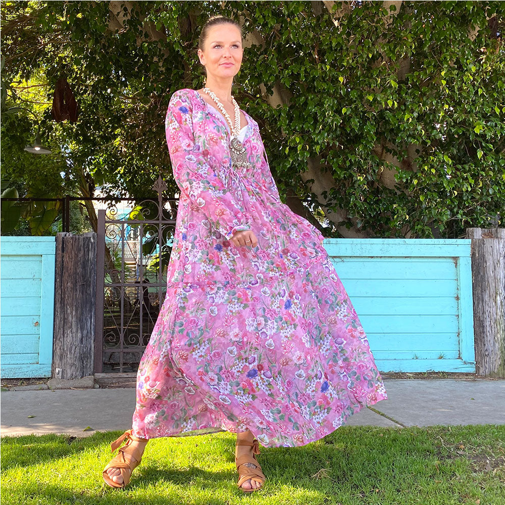 Pink floral maxi dress maternity The Fox and the Mermaid