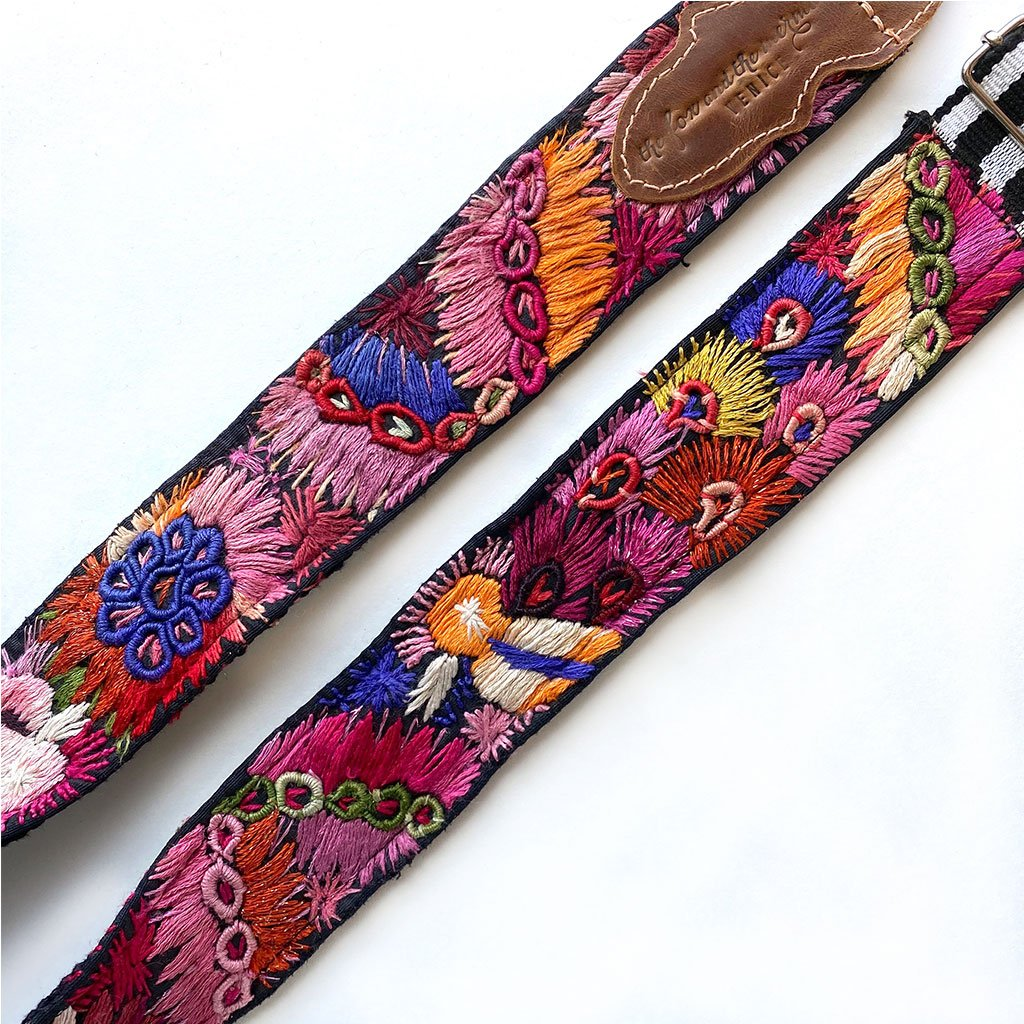 bird detail on guitar strap - The Fox and the Mermaid