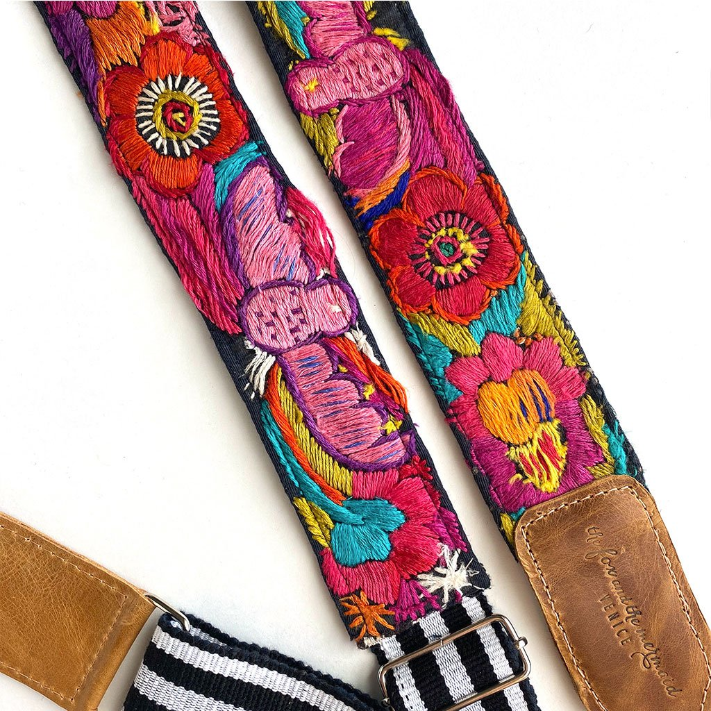 Pink Bird Embroidered Detail on Strap - The Fox and the Mermaid