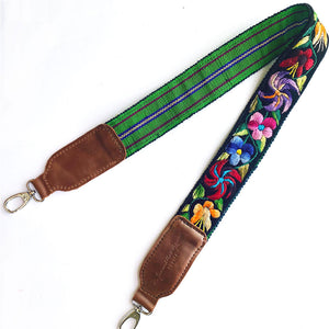 embroidered floral strap with green backing  - The Fox and the Mermaid