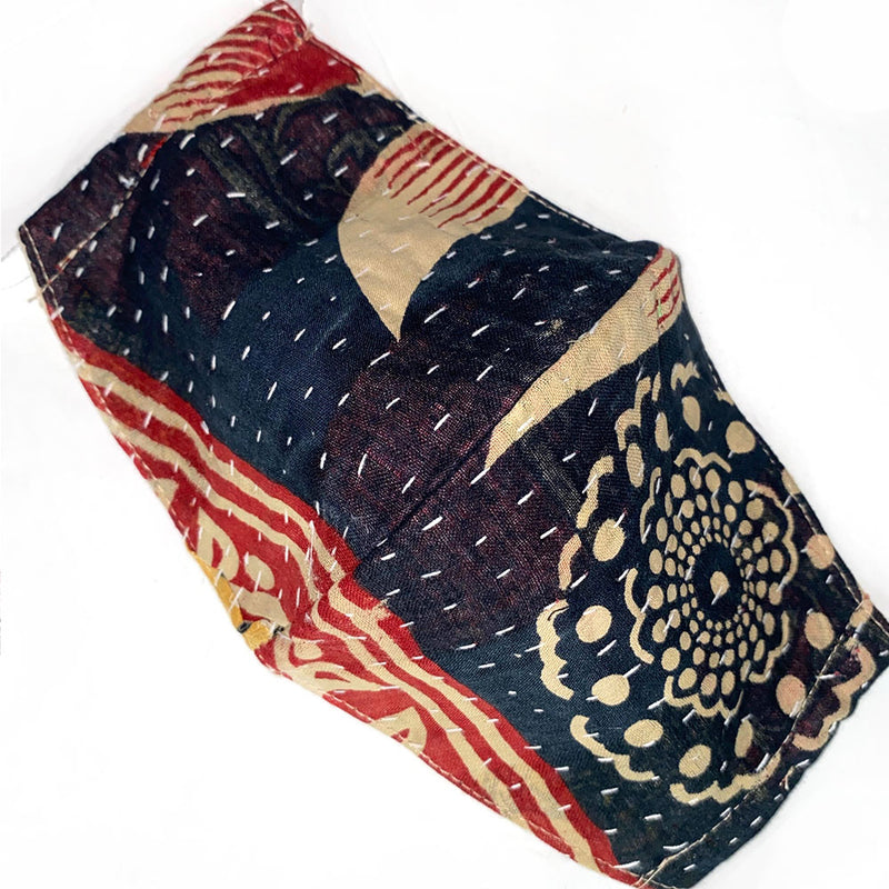 black hndstitched kantha mask - The Fox and the Mermaid