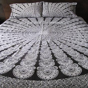 Black and White Aztec Tapestry Bedding - The Fox and The Mermaid - 1