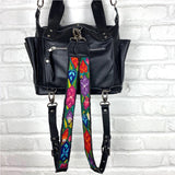 black leather mayan bag with vintage embroidered backpack straps  - The Fox and the Mermaid
