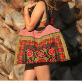 Black and Pink Hmong Tribe Embroidered Bag - The Fox and The Mermaid - 1