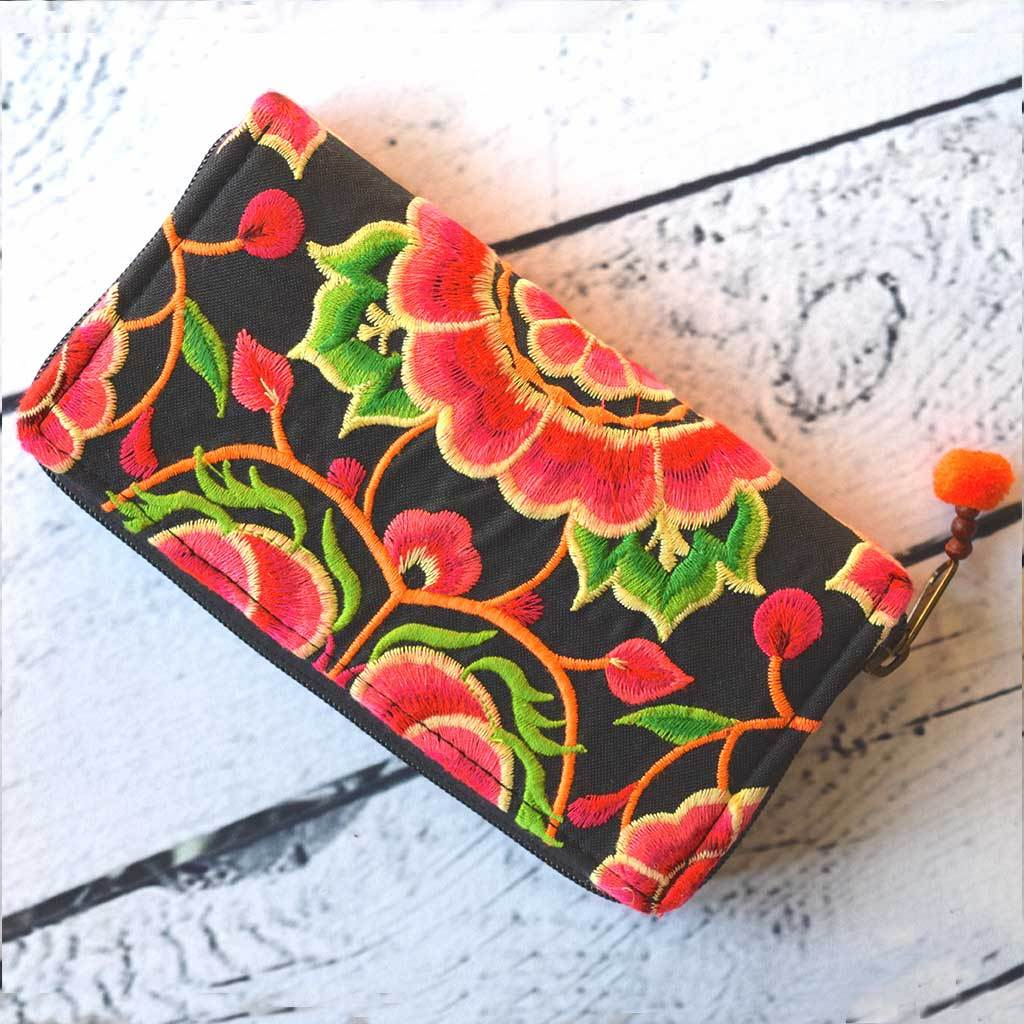 Embroidered Tribal Wallet The Fox and the Mermaid