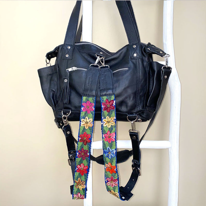 soft black backpack with detachable green straps - The Fox and the Mermaid