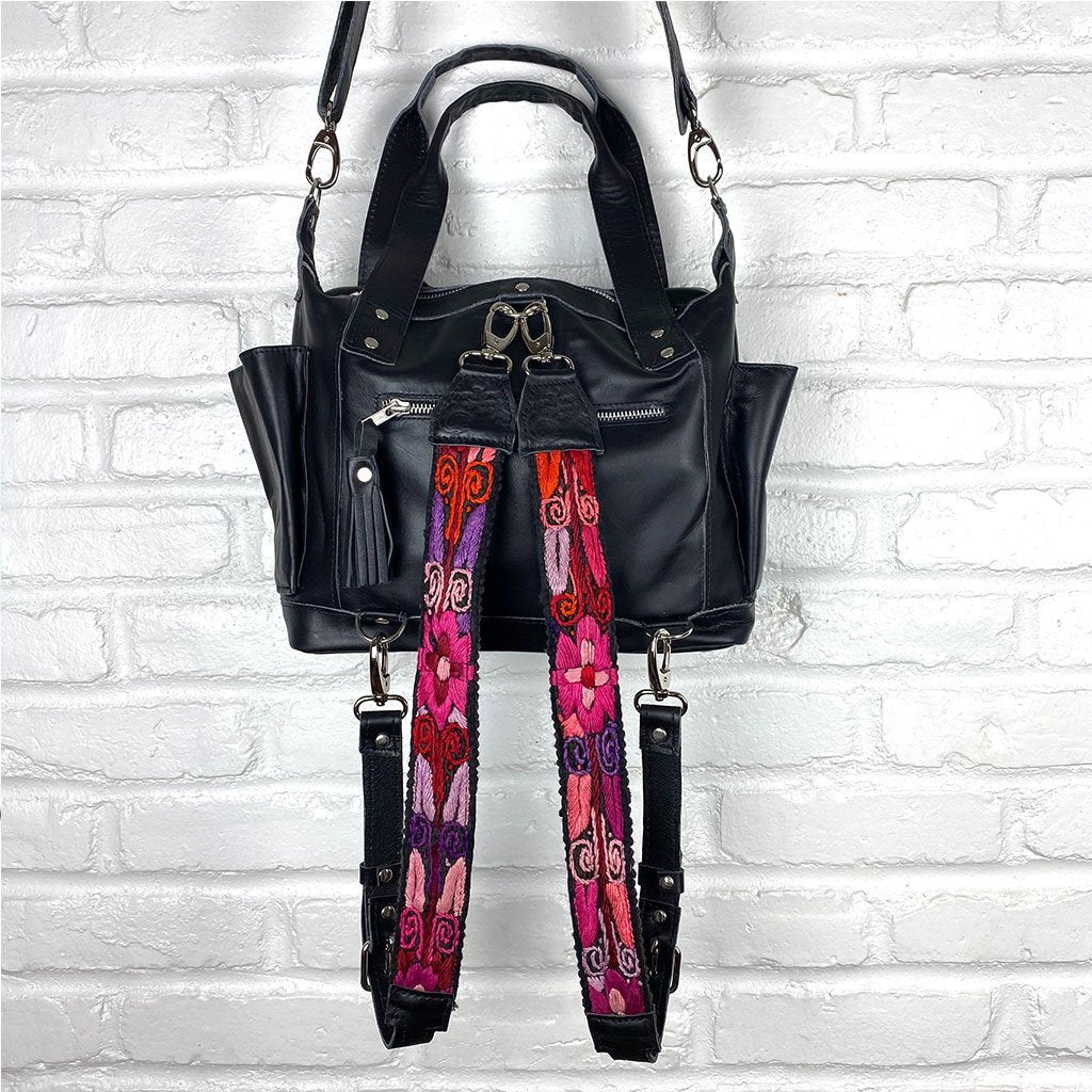 pink and purple embroidered straps on black leather backpack  - The Fox and the Mermaid