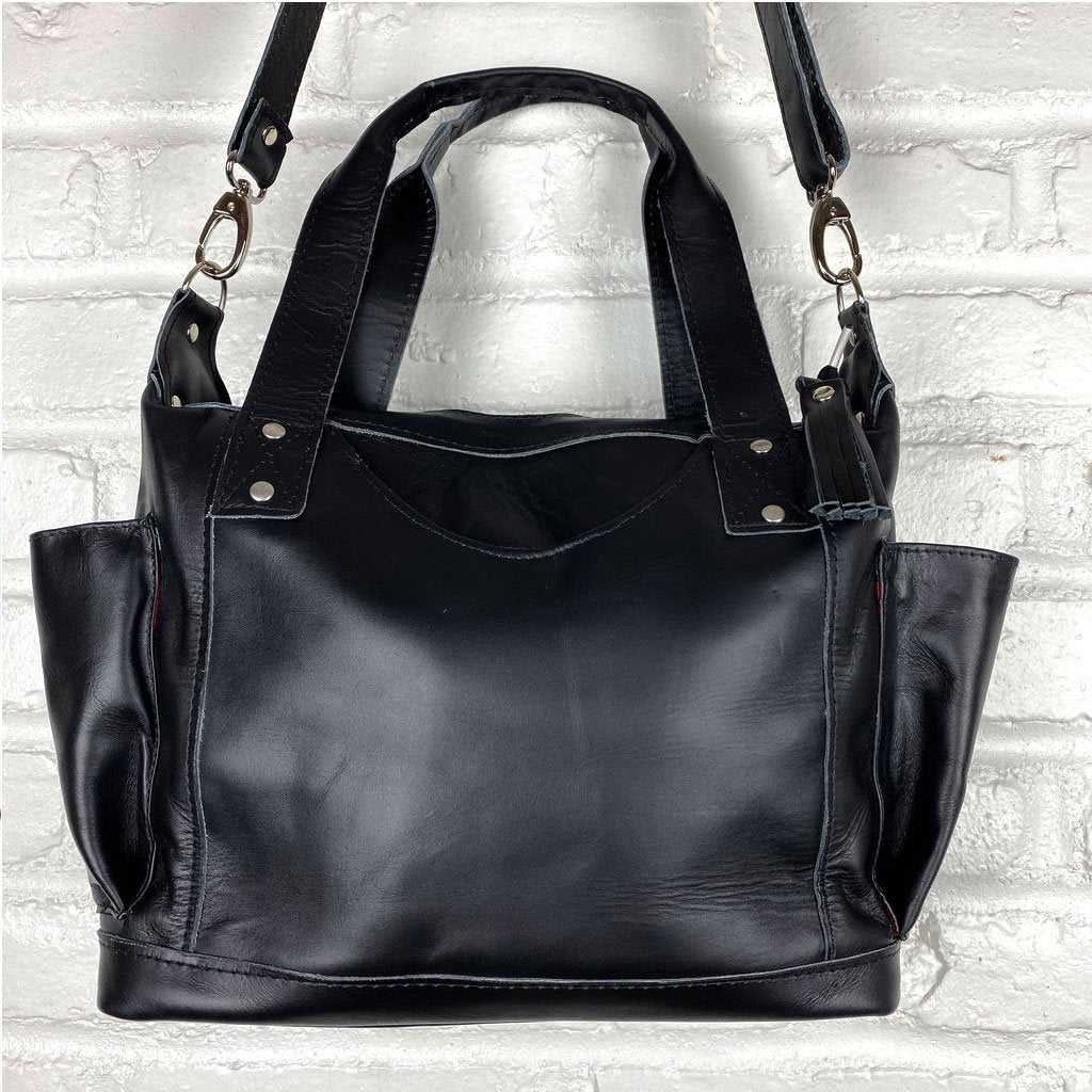soft black leather bag  with embroidered straps - The Fox and the Mermaid