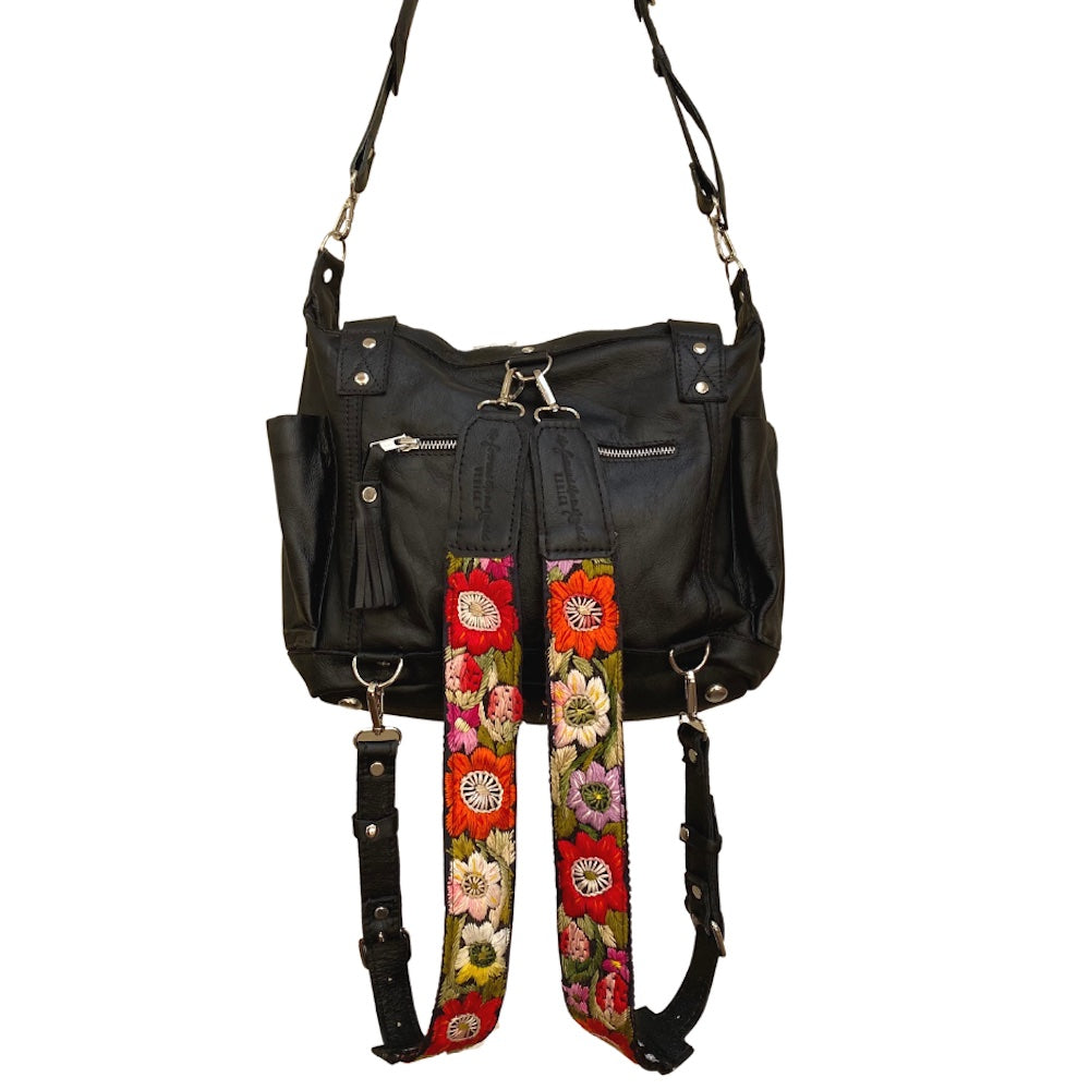 Black Leather 3 way bag - The Fox and the Mermaid