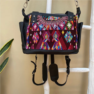 embroidered guatemalan huipil bag bag with detachable straps - The Fox and the Mermaid