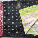 silver black and red kantha quilt vintage The Fox and the Mermaid