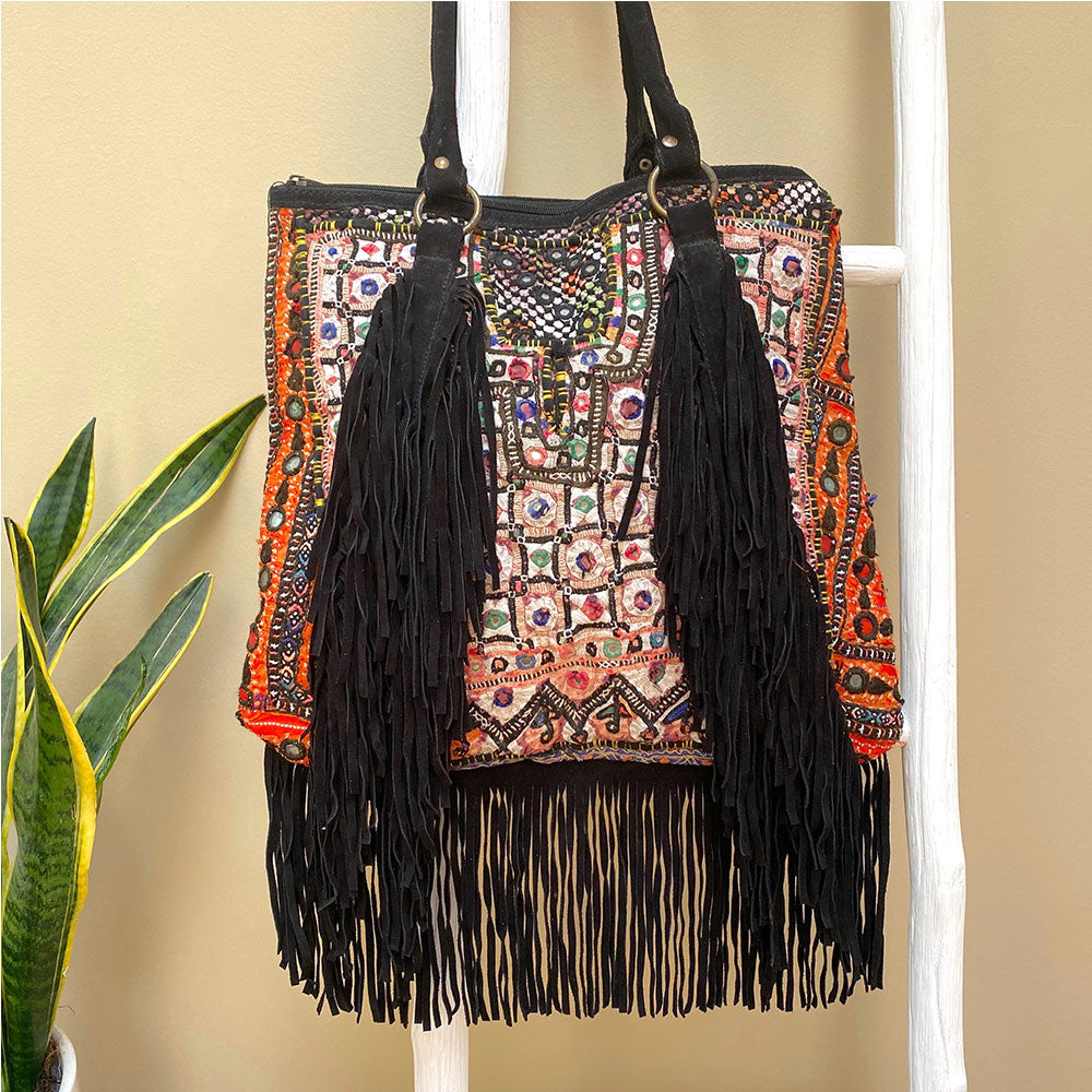 Black Suede Vintage Embroidered Indian Shoulder Bag - The Fox and the Mermaid