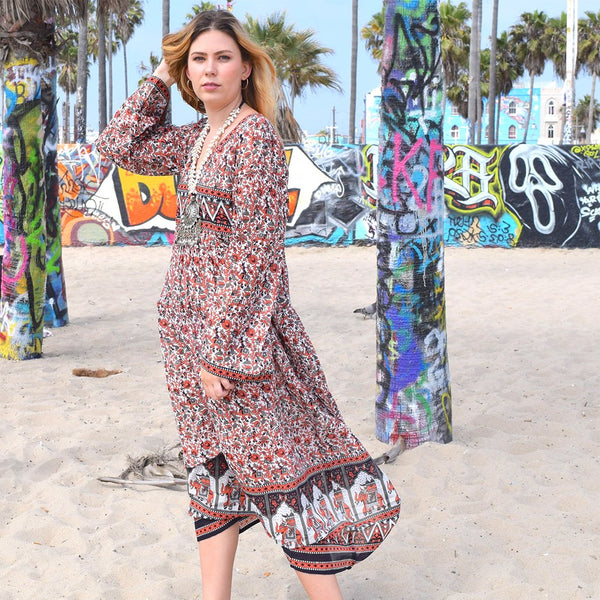 Brown Maxi Dress with Bell Sleeves  The Fox and the Mermaid