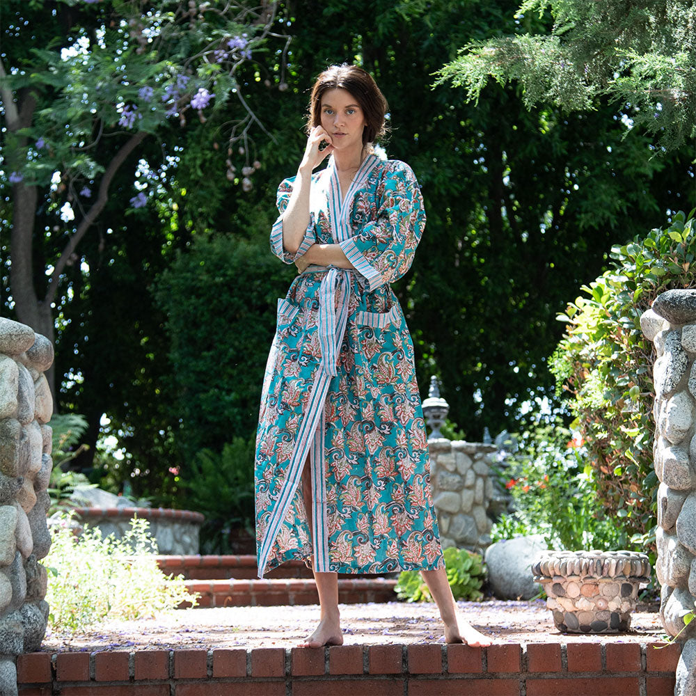 Floral Block printed kimono robe - The Fox and the Mermaid