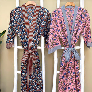floral hand printed indian robes - the fox and the mermaid