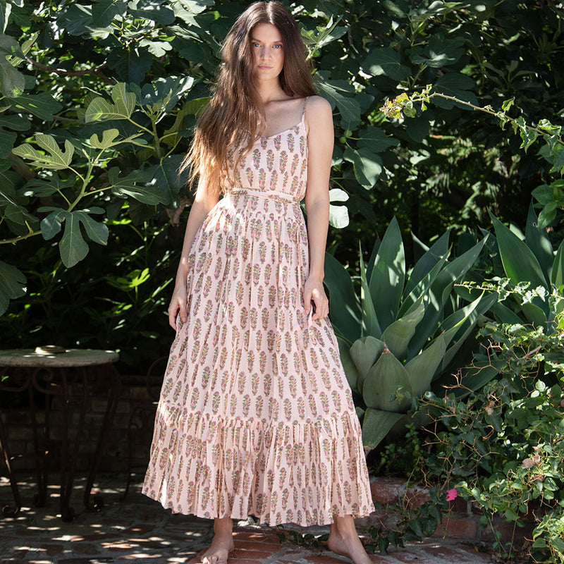 Soft Pink Block Printed Maxi dress - The Fox and the Mermaid