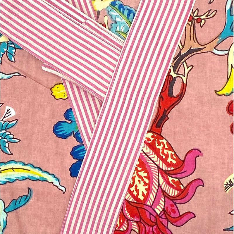 pink cotton kimono with hand printed striped border- The Fox and the Mermaid