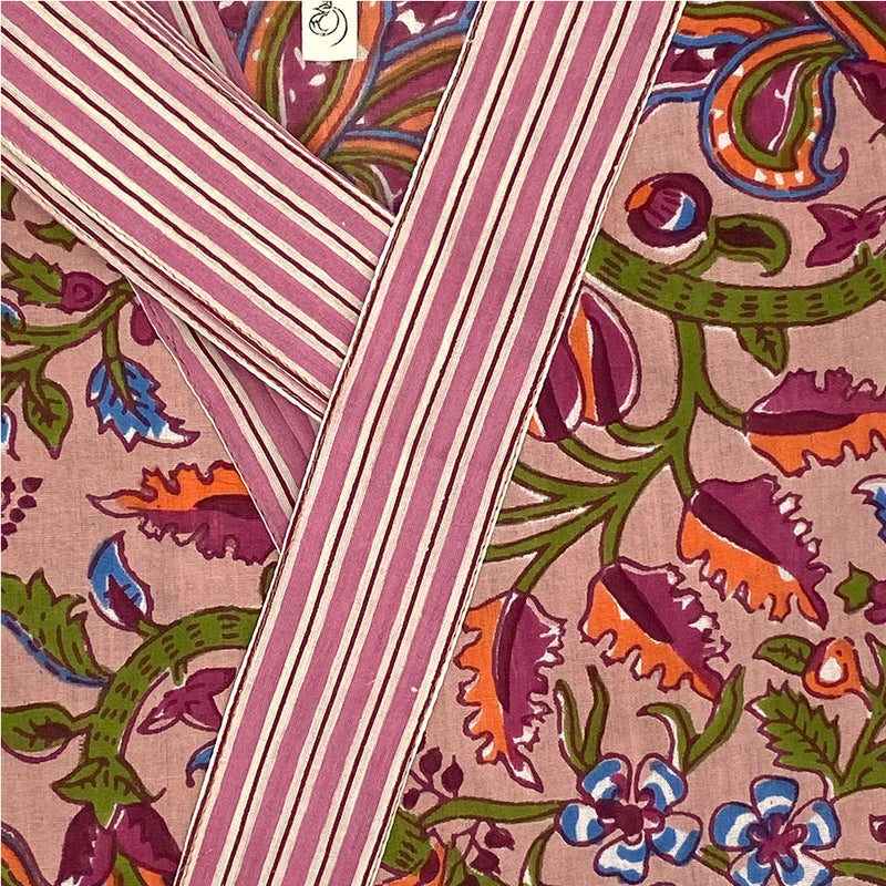 pink striped border detail on robe  - THE FOX AND THE MERMAID