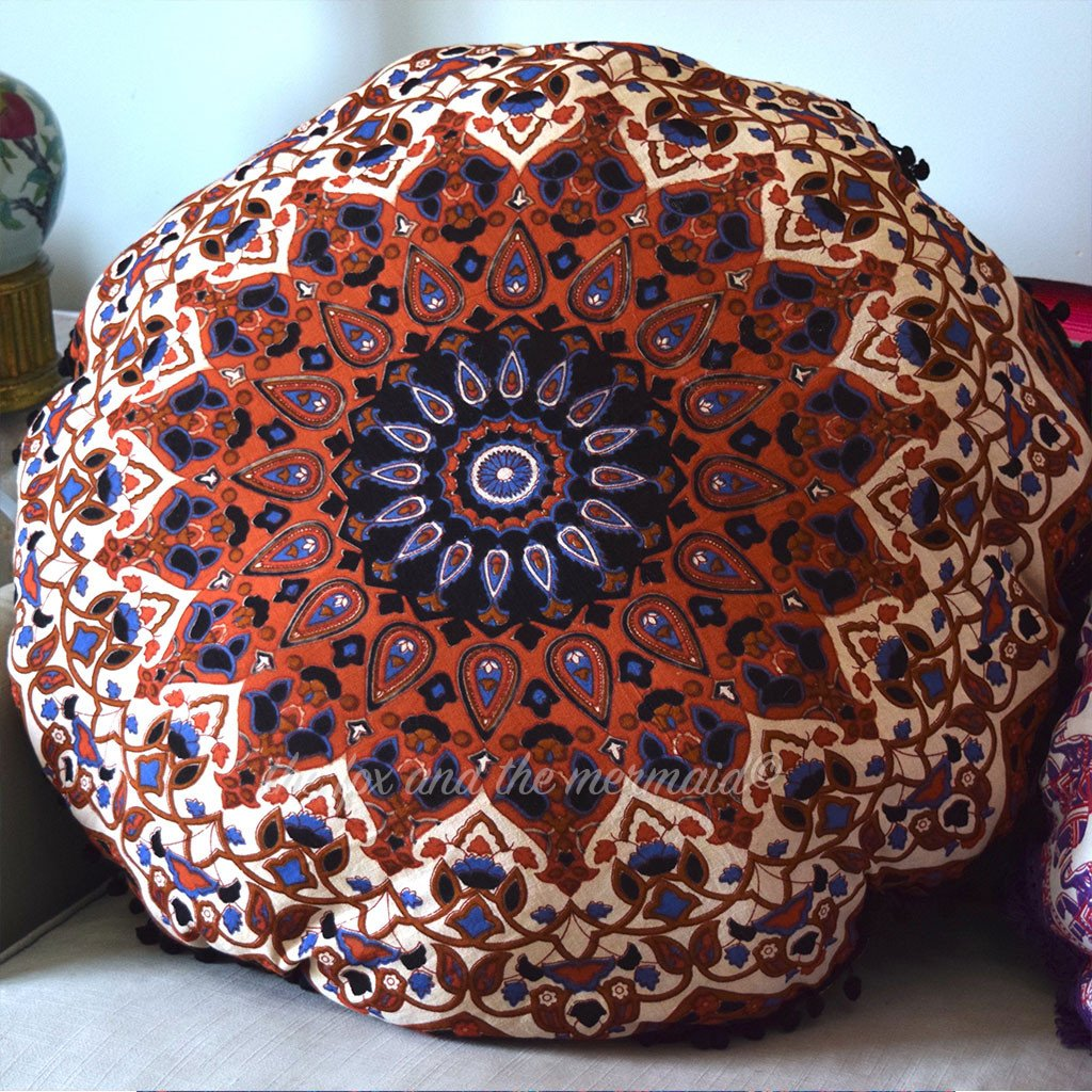 Mandala Tapestry Floor Pillow Brown Blue And Black The