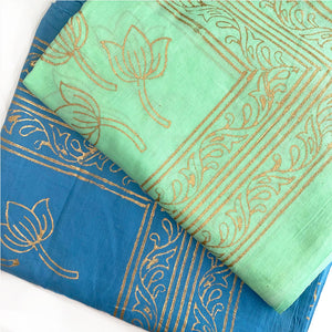 Cotton voile block printed sarongs with lotus flower designs in gold  - The Fox and the Mermaid