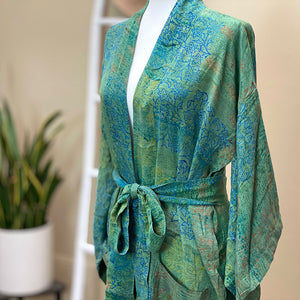 blue and green hand painted vintage silk robe - The Fox and the Mermaid