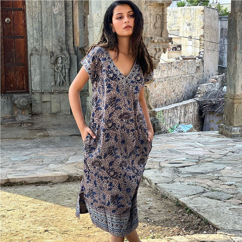 blue and grey block printed long dress The Fox and the Mermaid
