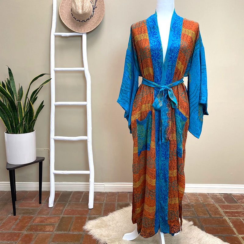 Blue and orange vintage silk robe kimono  - The Fox and the Mermaid