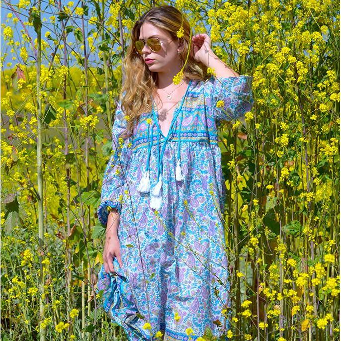 pastel bohemian indian print dress the-fox-and-the-mermaid