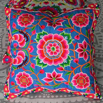 Blue and Pink Hmong Hill Tribe Cushion Cover - The Fox and The Mermaid - 2