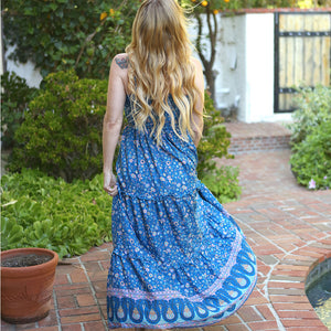 blue and pink floral maxi dress - The Fox and the Mermaid