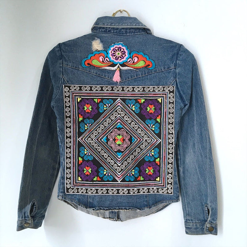 Embellished Denim Hmong Shirt with Tassels and Embroidery (XS) - The Fox and The Mermaid