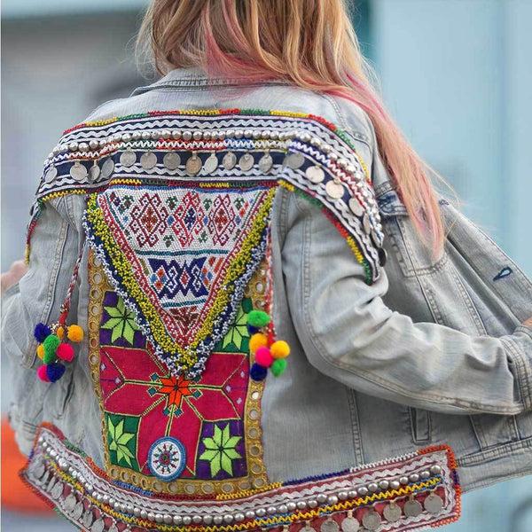 Blue and Pink Embellished Denim Jacket The Fox and the Mermaid
