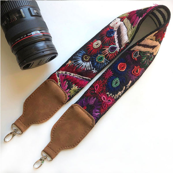 Blue and Red Embroidered Camera Strap The Fox and the Mermaid