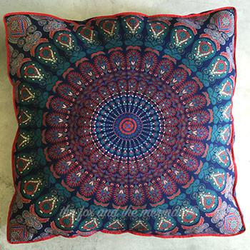 Mandala Tapestry Floor Cushion and Dog Bed: Blue and Red - The Fox and The Mermaid - 1