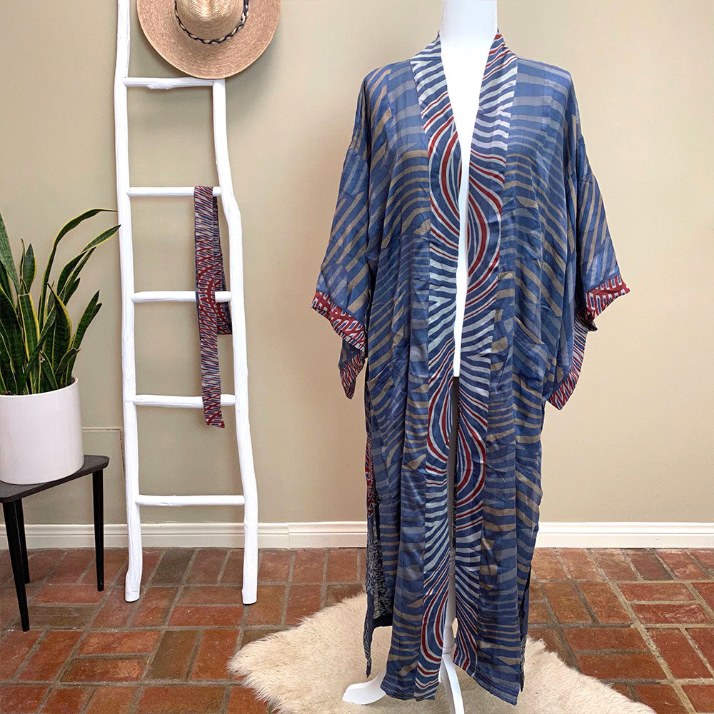 Indian silk robe and kimono - The Fox and the Mermaid