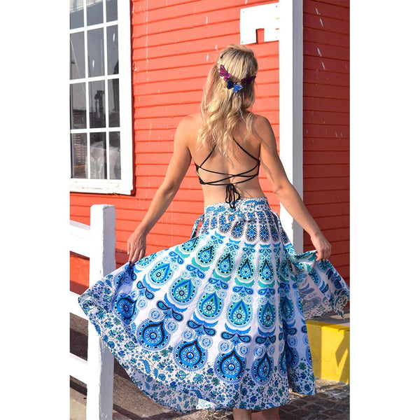 Blue and White Mandala Tapestry Maxi Skirt The Fox and the Mermaid