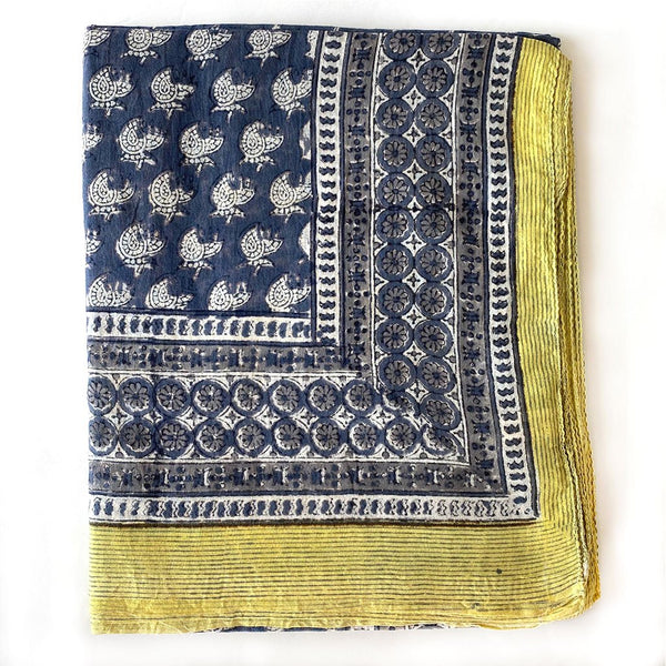 Yellow and Blue block printed sarong The Fox and the Mermaid