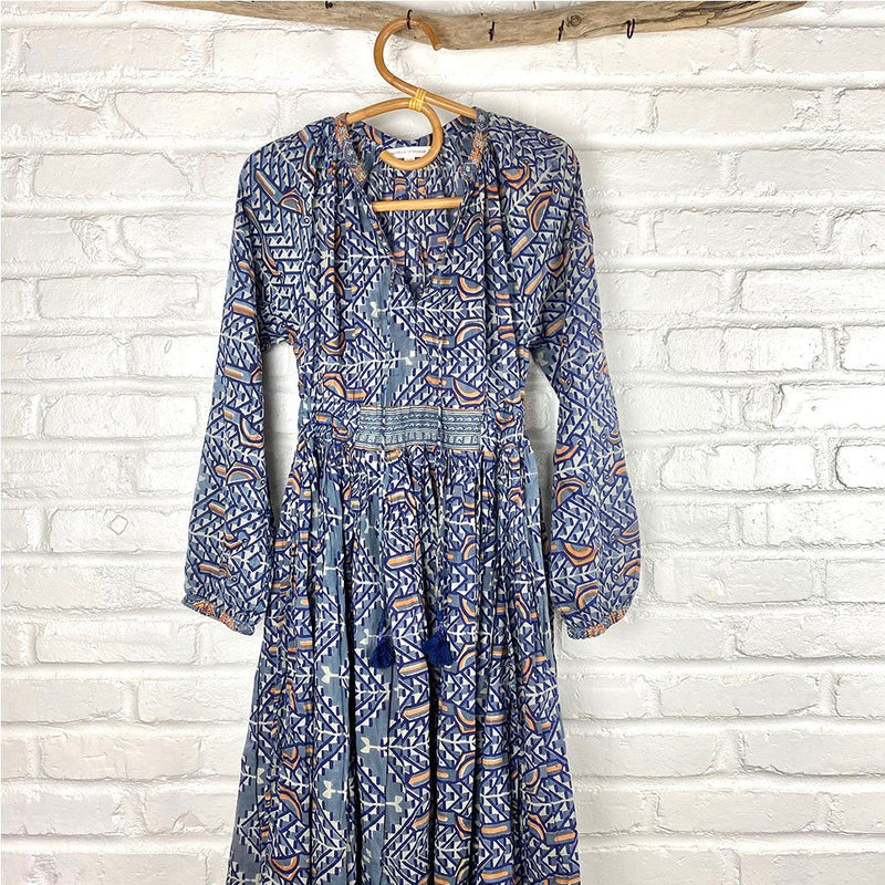 blue bohemian 70s style dress The Fox and the Mermaid