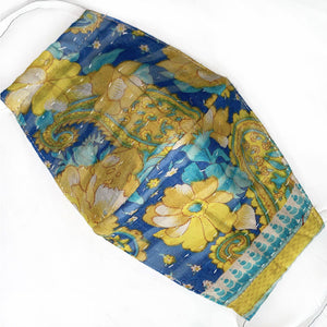 blue and yellow floral kantha quilted mask - The FOx and the Mermaid
