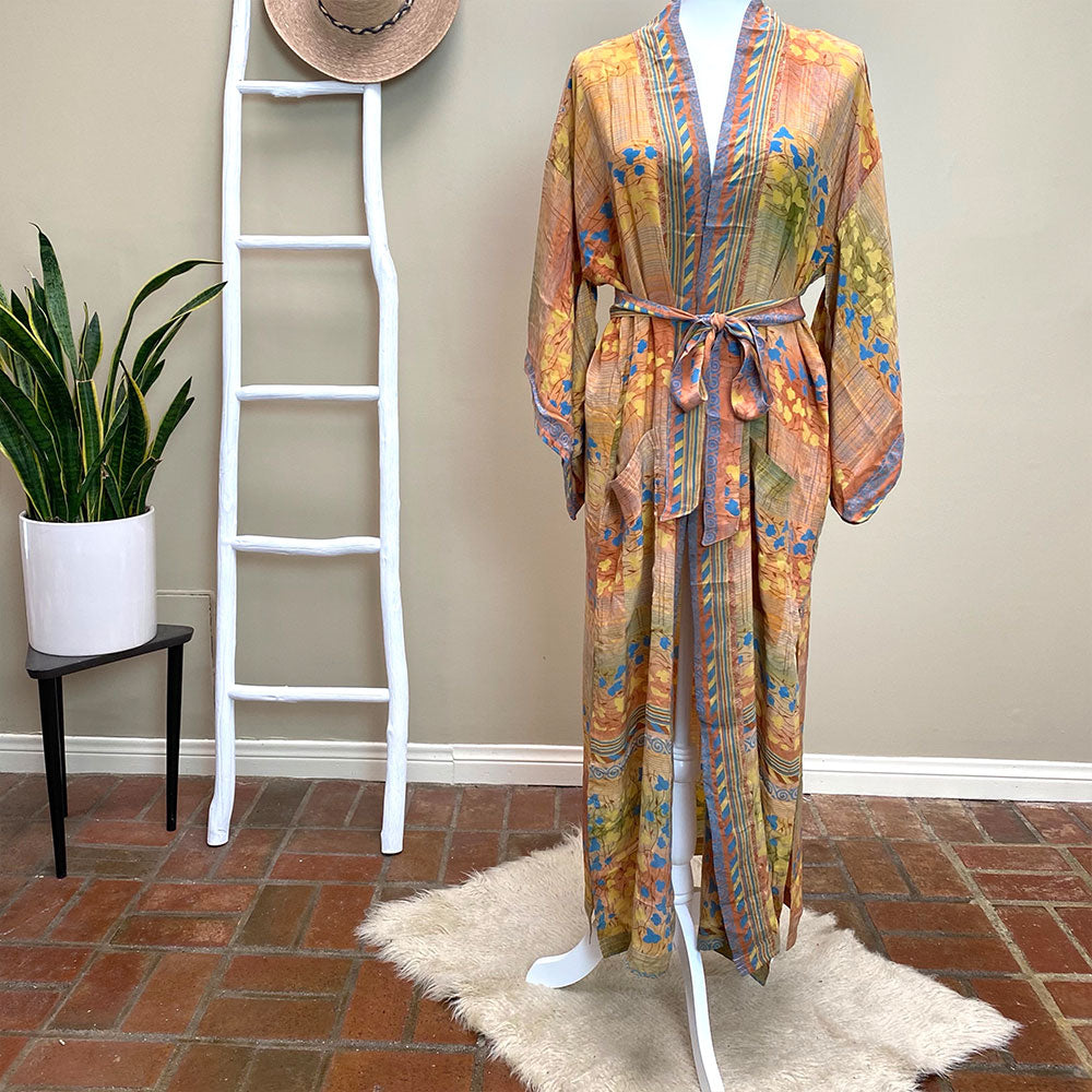 Orange Floral Vintage Silk Saree Robe  - The Fox and the Mermaid
