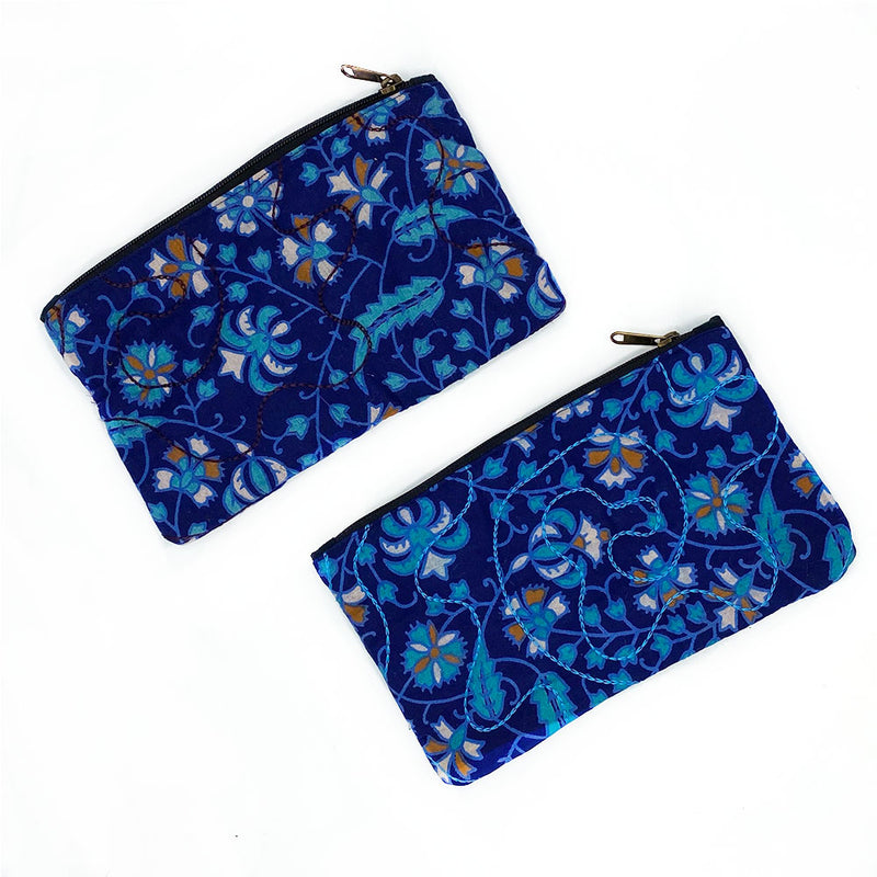 Blue block printed quilted bag - The Fox and the Mermaid